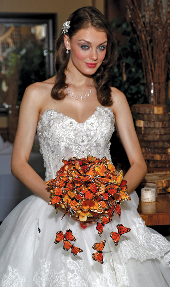 Bouquet: Mitch Kolby Events, Beautiful Butterflies. Gown: Eve of Milady