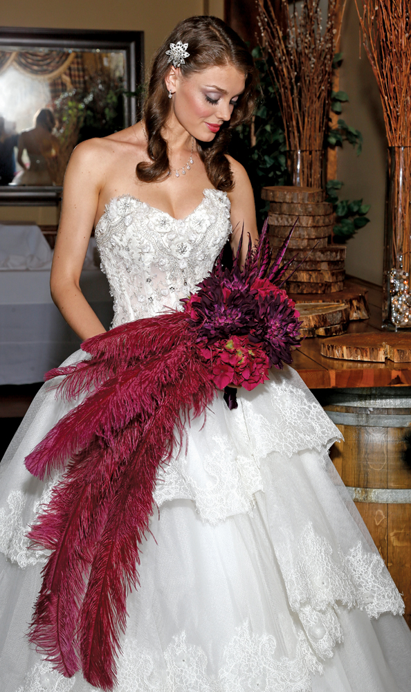 Bouquet: Mitch Kolby Events, Drama! with dyed Pheasant & Ostrich Feathers