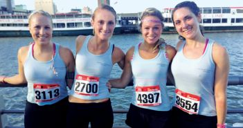 Gotham Versatile Training, Hannah, 2nd from left, & 3 of her brides after a Gotham VT 10k run.