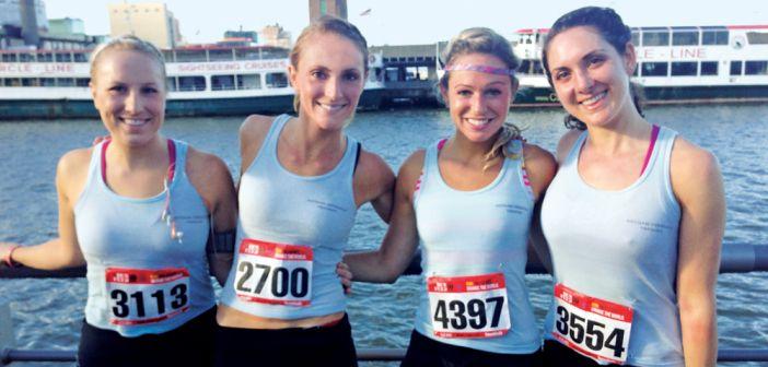 Gotham Versatile Training, Hannah, 2nd from left, & 3 of her brides after a Gotham VT 10k run.