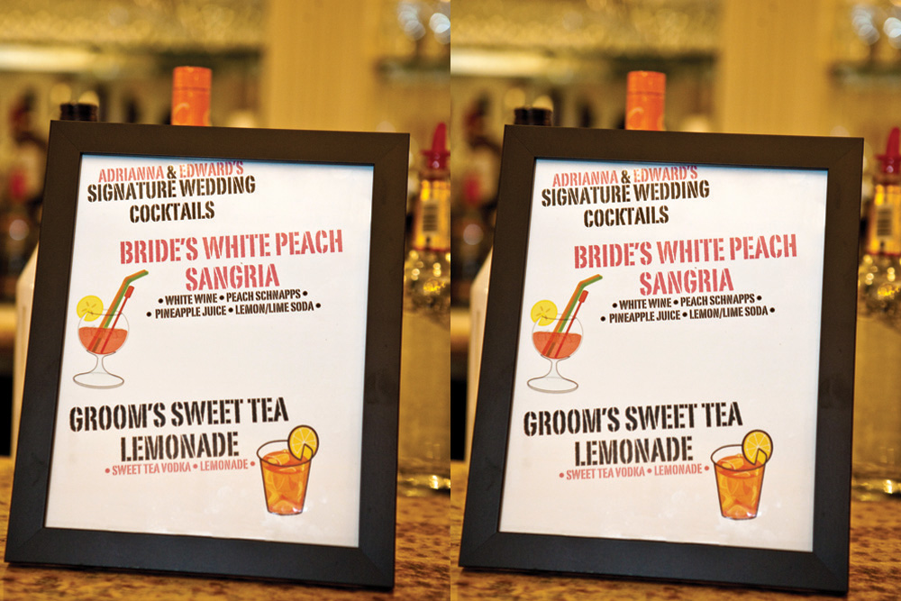 Nanina's in the Park, Bride & Groom Signature Drinks (Milton Gil Photographers)