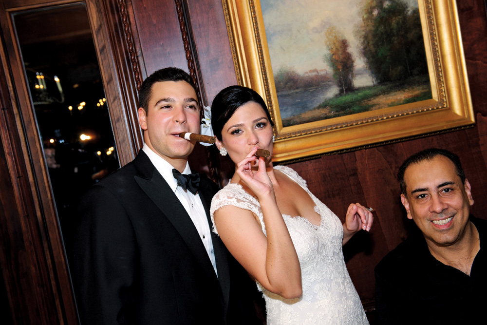 Nanina's in the Park, Bride & Groom with Cigars (Milton Gil Photographers)