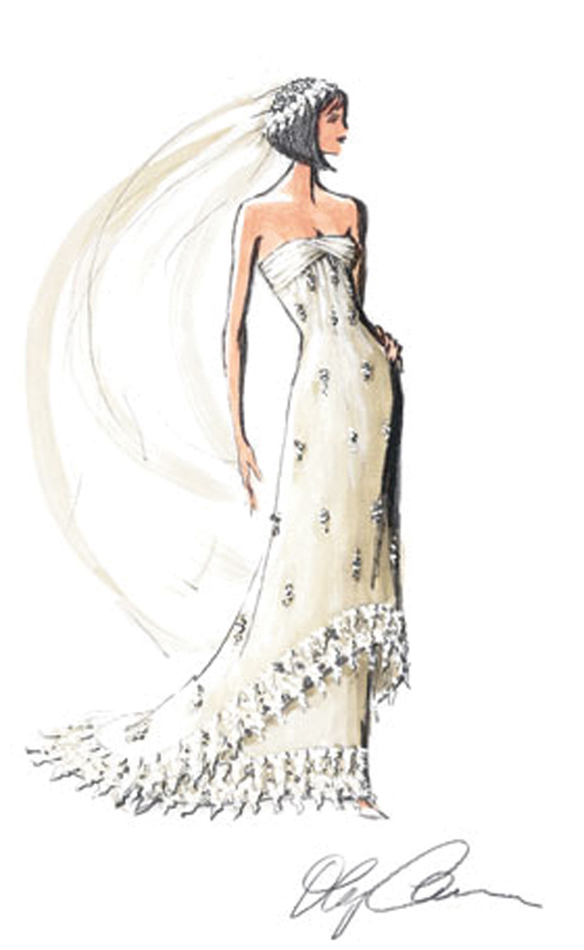 oleg cassini gown sketch
