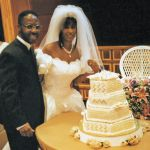 Bride and groom with the cake