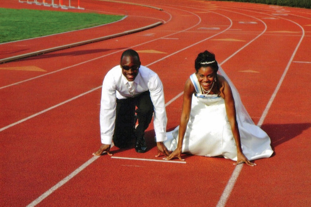 Flore Events, fellow Track Captains on their Wedding Day