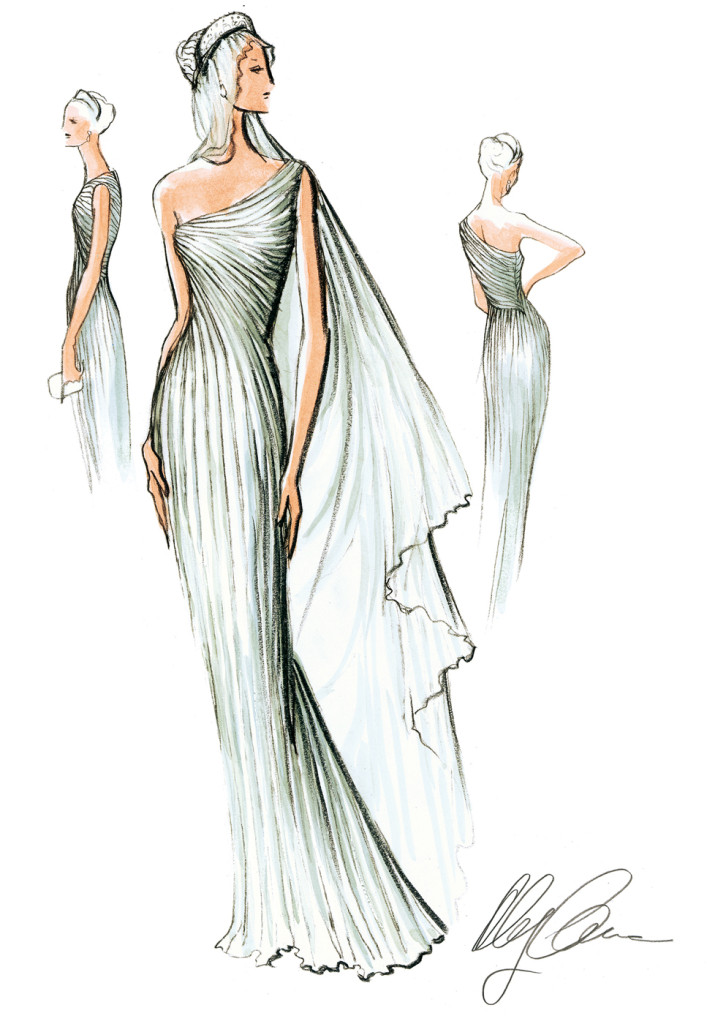 Oleg Cassini Grecian-inspired gown