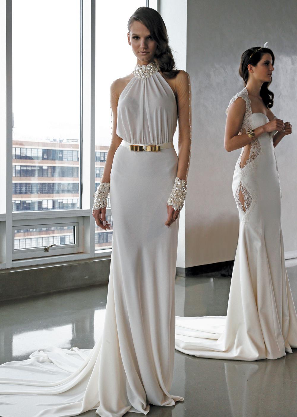 Galia Lahav Glamorous Long Sleeve Sheath Wedding Gown