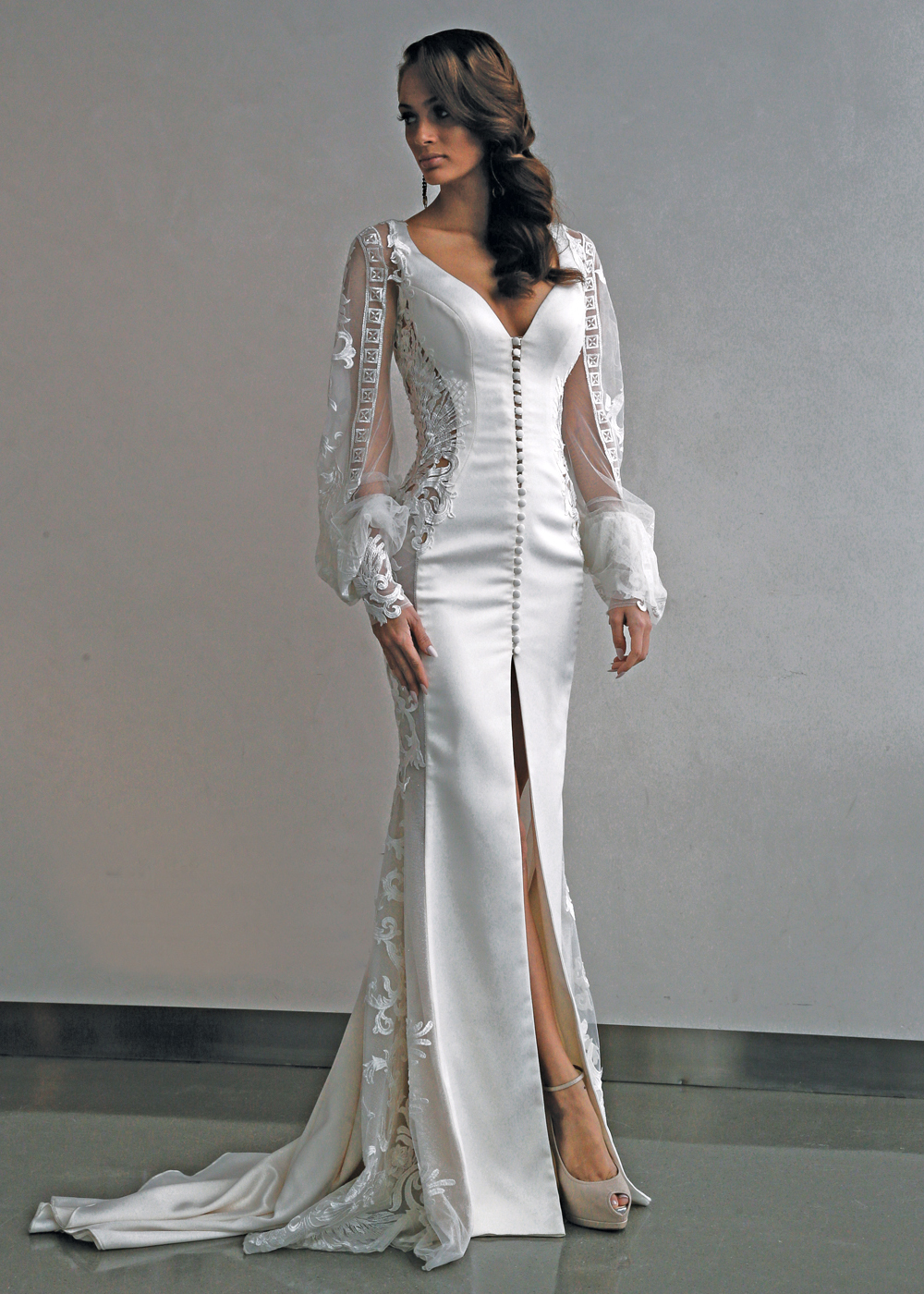 Galia Lahav Avant Garde Long Sleeve Sheath Wedding Gown