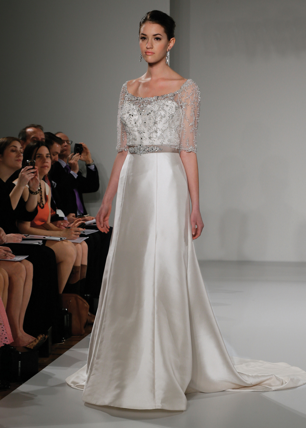 Maggie Sottero Glamorous 3/4 Sleeve A-Line Wedding Gown
