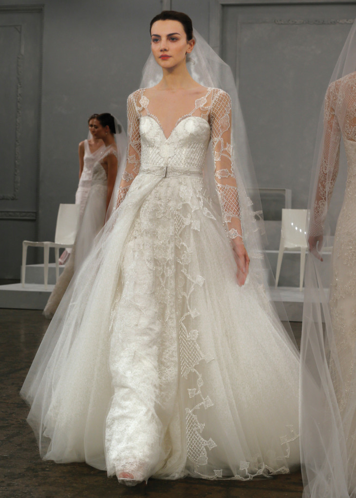 Monique lhuillier glamorous a line wedding gown for Wedding dress preservation nyc