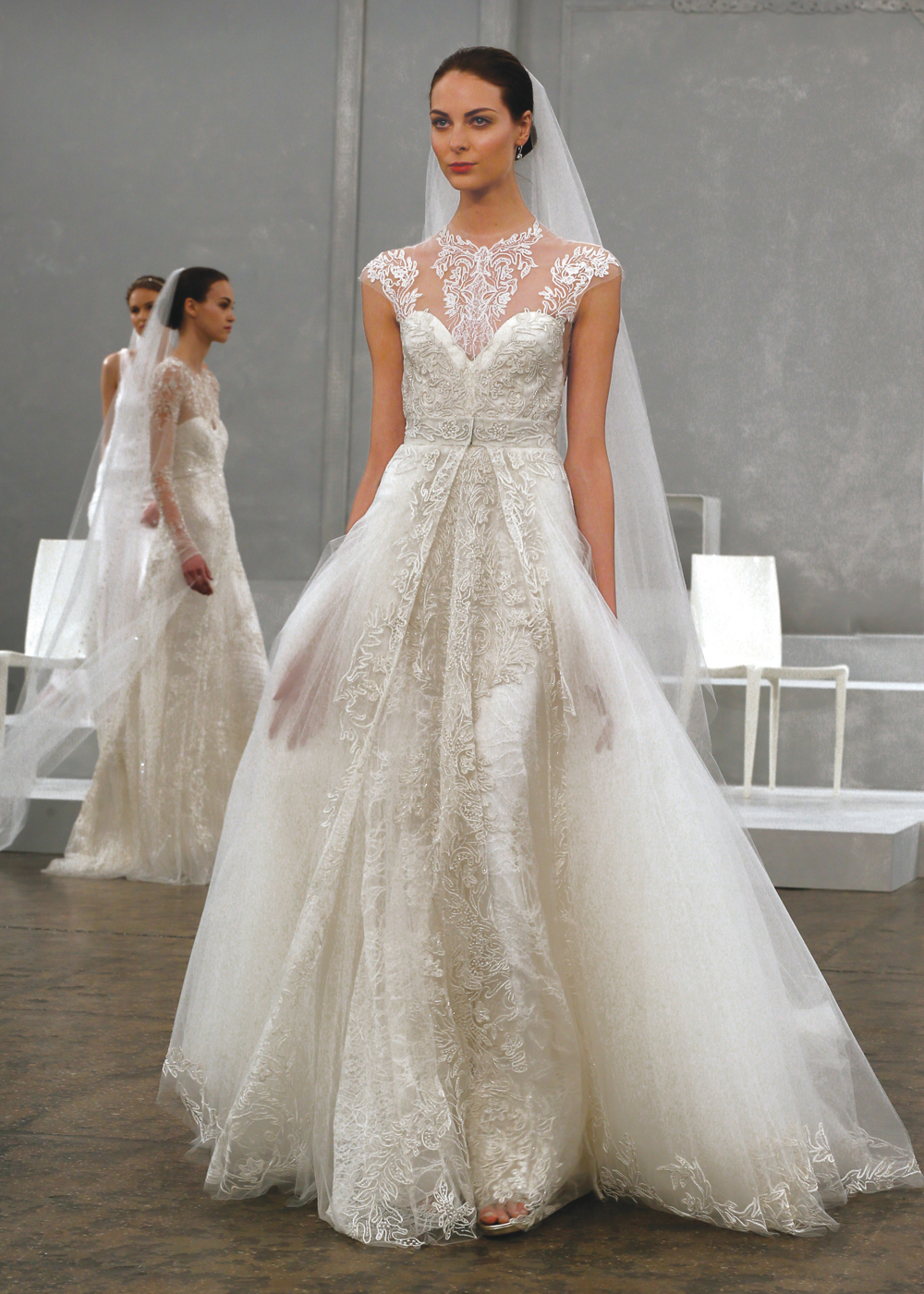 Monique Lhuillier Glamorous A-Line Wedding Gown