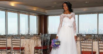 Gown: Yumi Katsura (Juno, $3,500) at Designer Loft. Bouquet: Mitch Kolby Events.