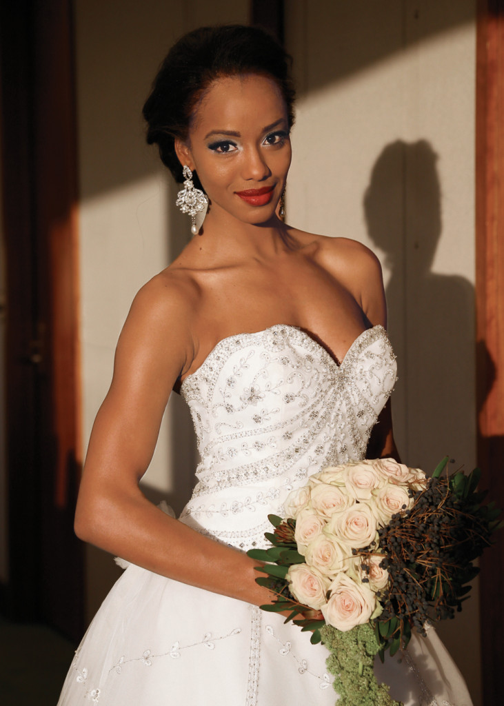 Gown: Eve of Milady (330, $5,300). Bouquet: Mitch Kolby Events.