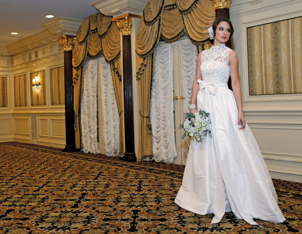 Gown: Oleg Cassini at David's Bridal (CMB673, $1,450)