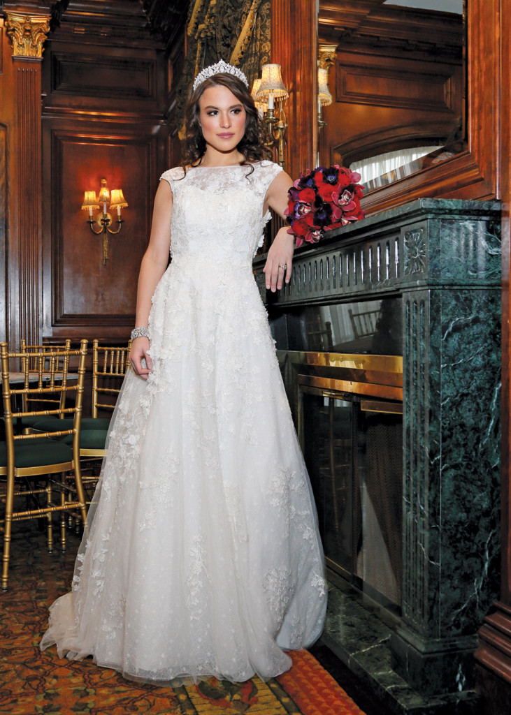 Gown: Oleg Cassini at David's Bridal (CWG659, $1,450)