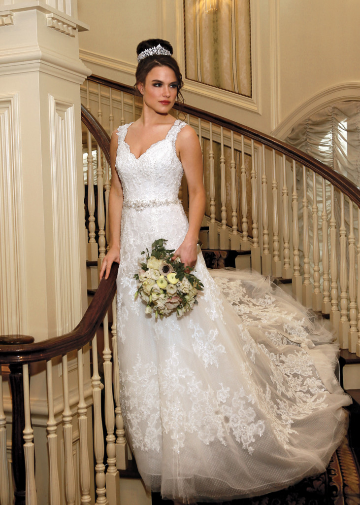 Gown: Oleg Cassini at David's Bridal (CWG672, $1,450)