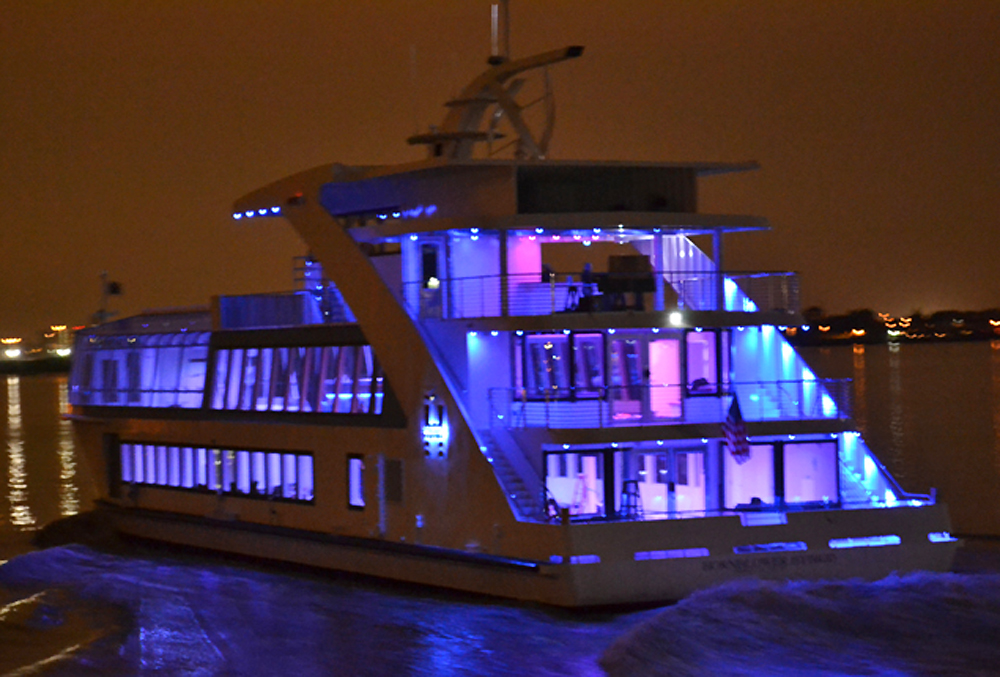 Smooth Sailing, Hybrid at night, aft view