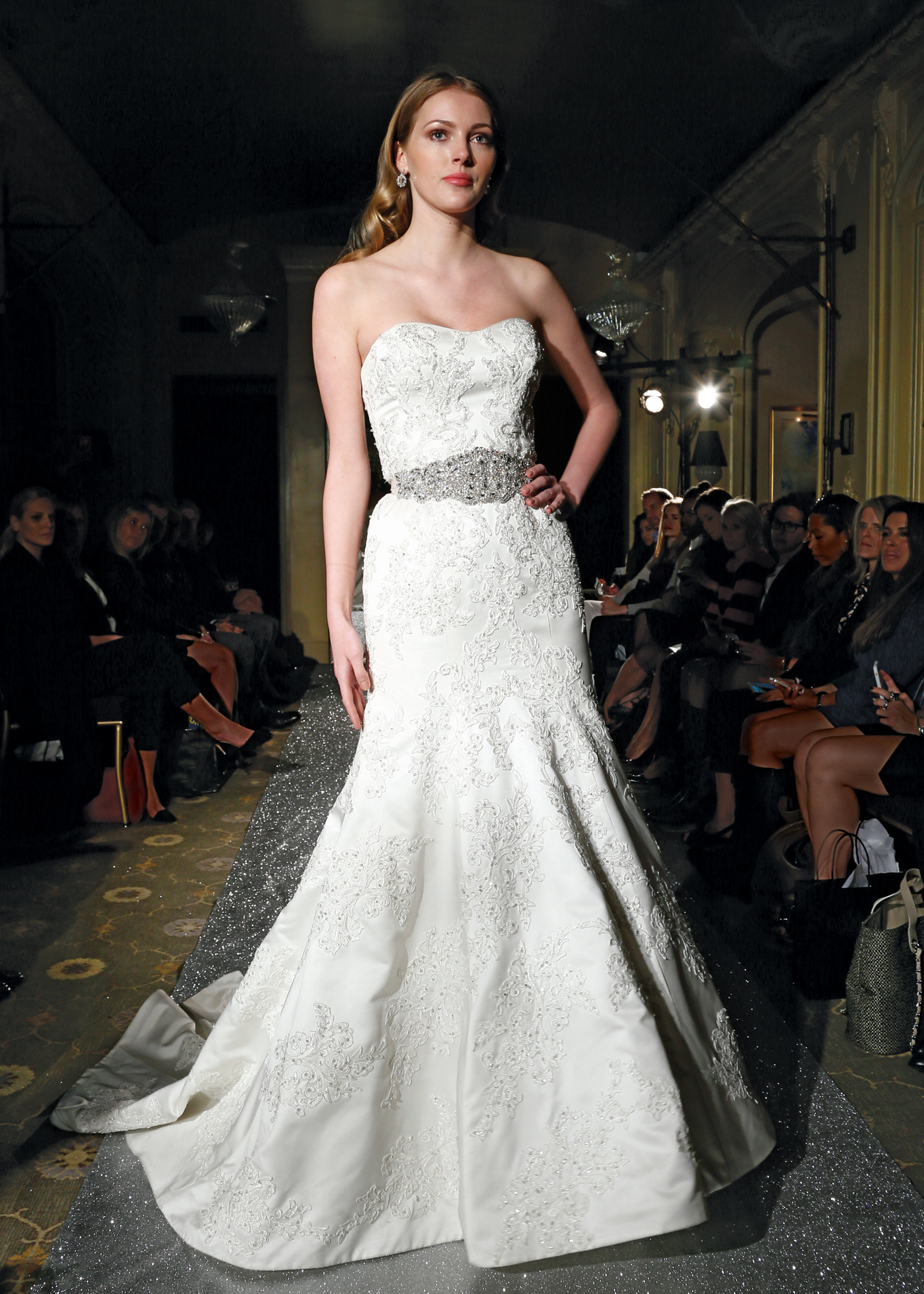 Oleg cassini classic strapless trumpet wedding gown for Wedding dress designer oleg cassini