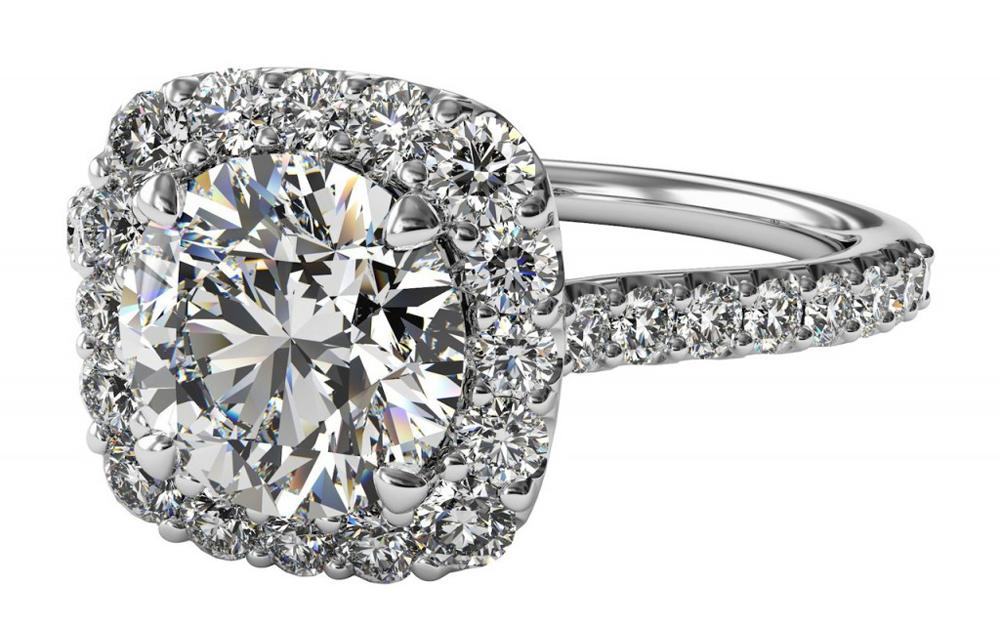 ritani french set cushion halo engagement ring - Ritani Wedding Rings