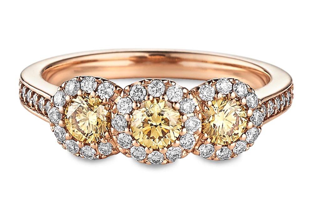 ritani 3 stone fancy yellow diamond halo engagement ring in 18kt rose gold - Ritani Wedding Rings