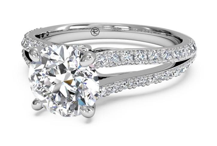 ritani double french set v diamond band engagement ring - Ritani Wedding Rings