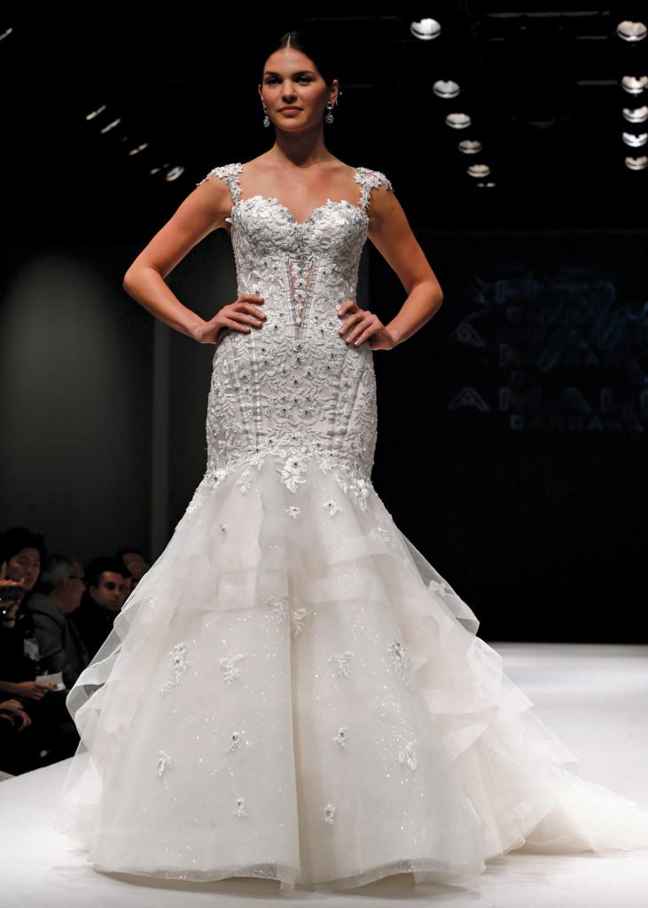 Eve Of Milady Glamorous Cap Sleeve Trumpet Wedding Gown