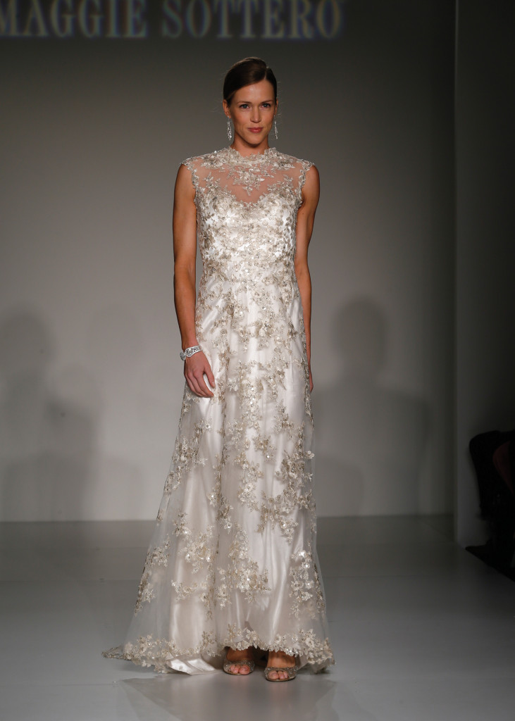 Maggie Sottero Glamorous Cap Sleeve Sheath Wedding Gown