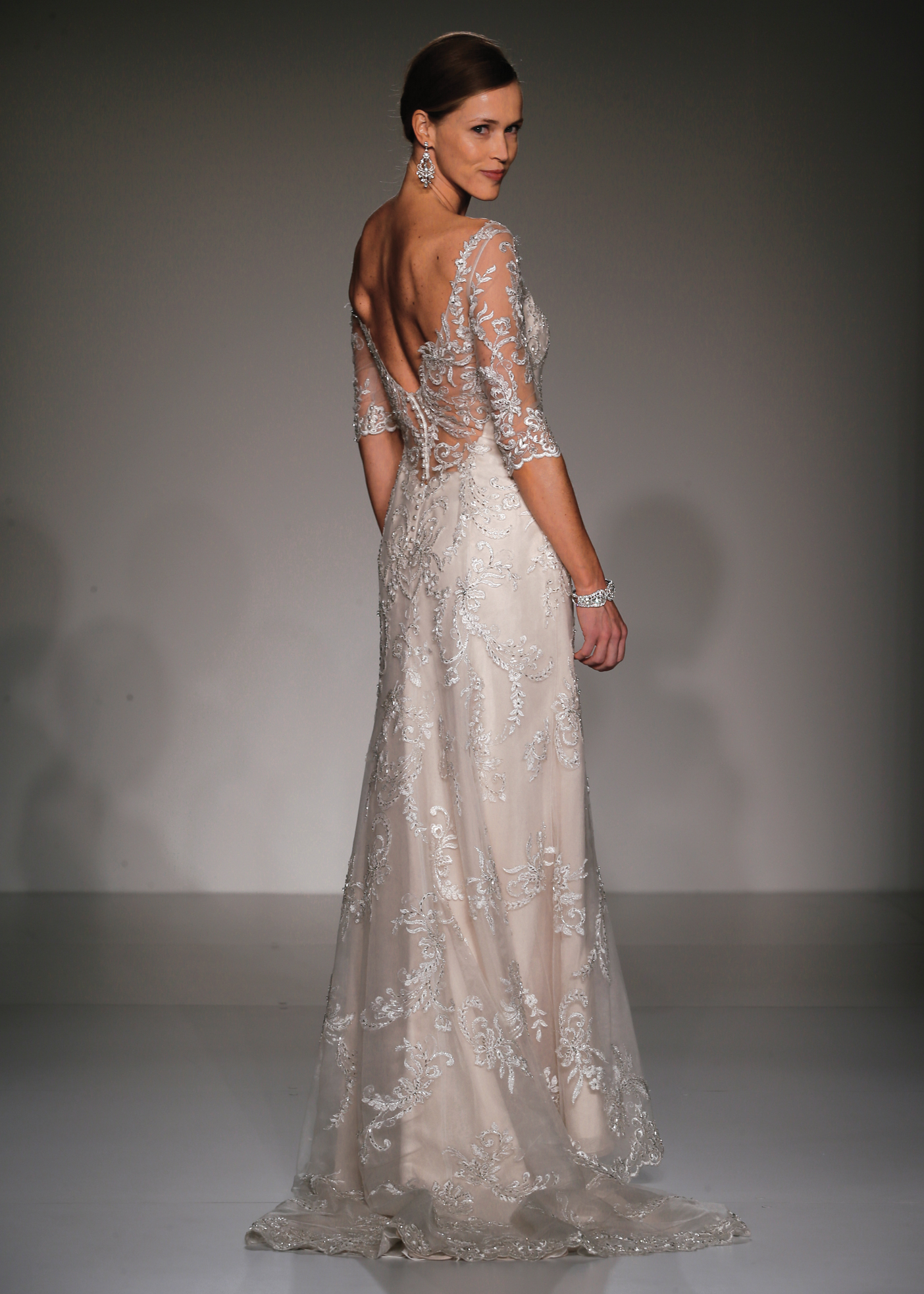 Maggie Sottero Glamorous 3 4 Sleeve Sheath Wedding Gown