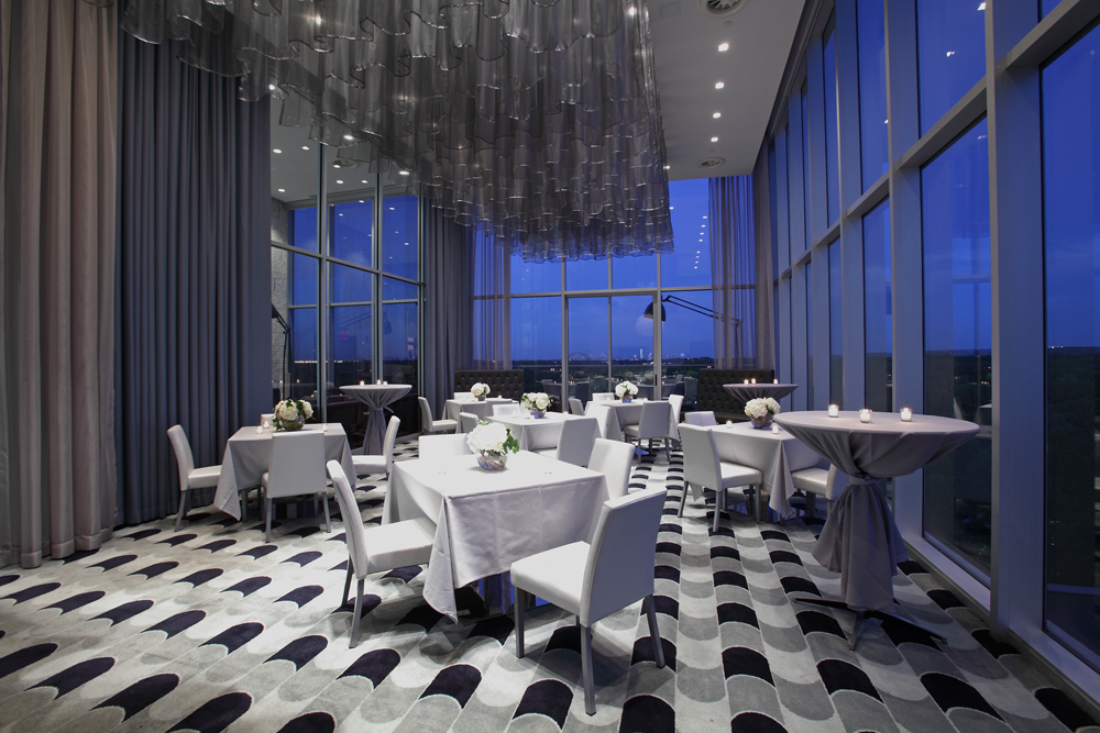 Above, rooftop private dining