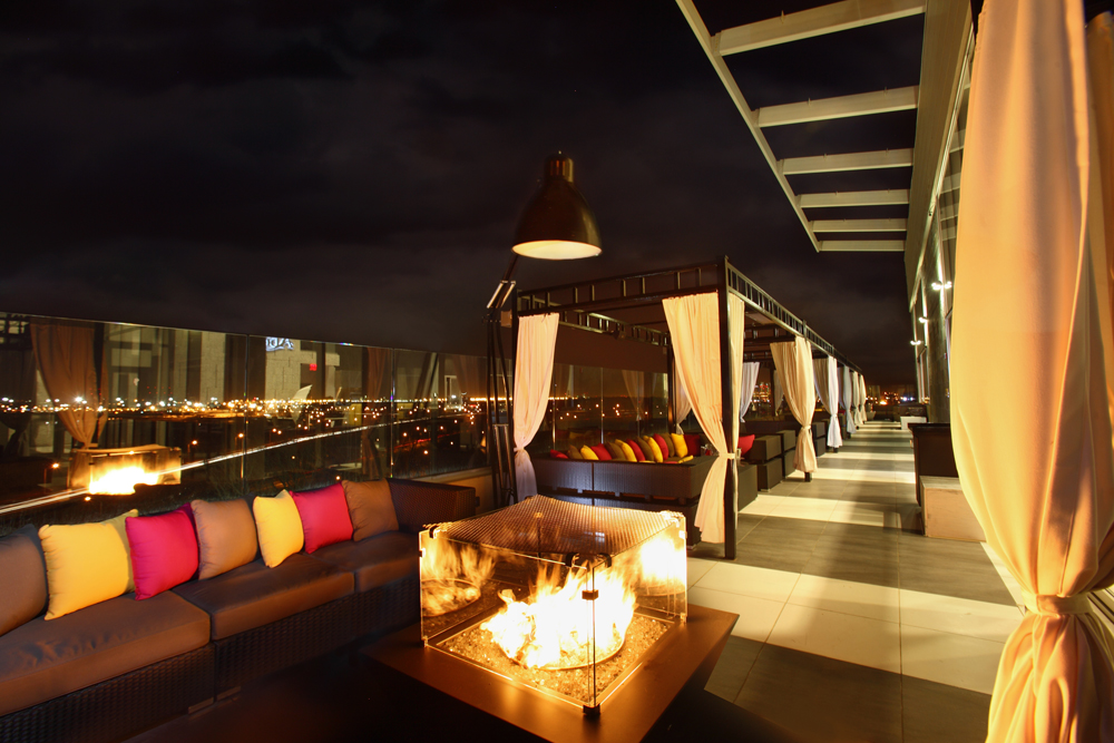 Above, rooftop terrace