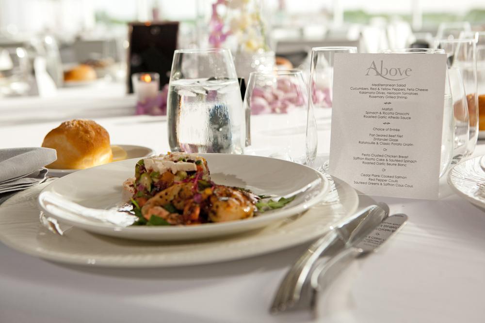 Above, exquisite cuisine