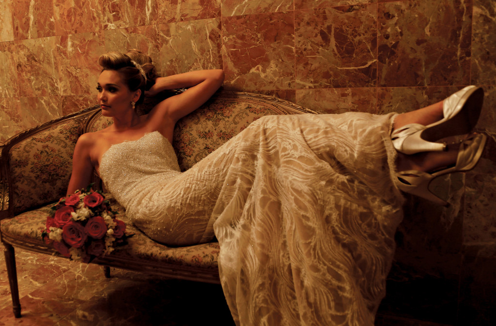 Gown: Yumi Katsura (Blysse, $6,900) at Designer Loft