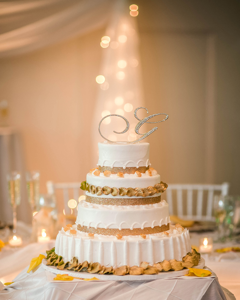 Grand Oaks Country Club, wedding cake (Unforgettable Expressions Photography)