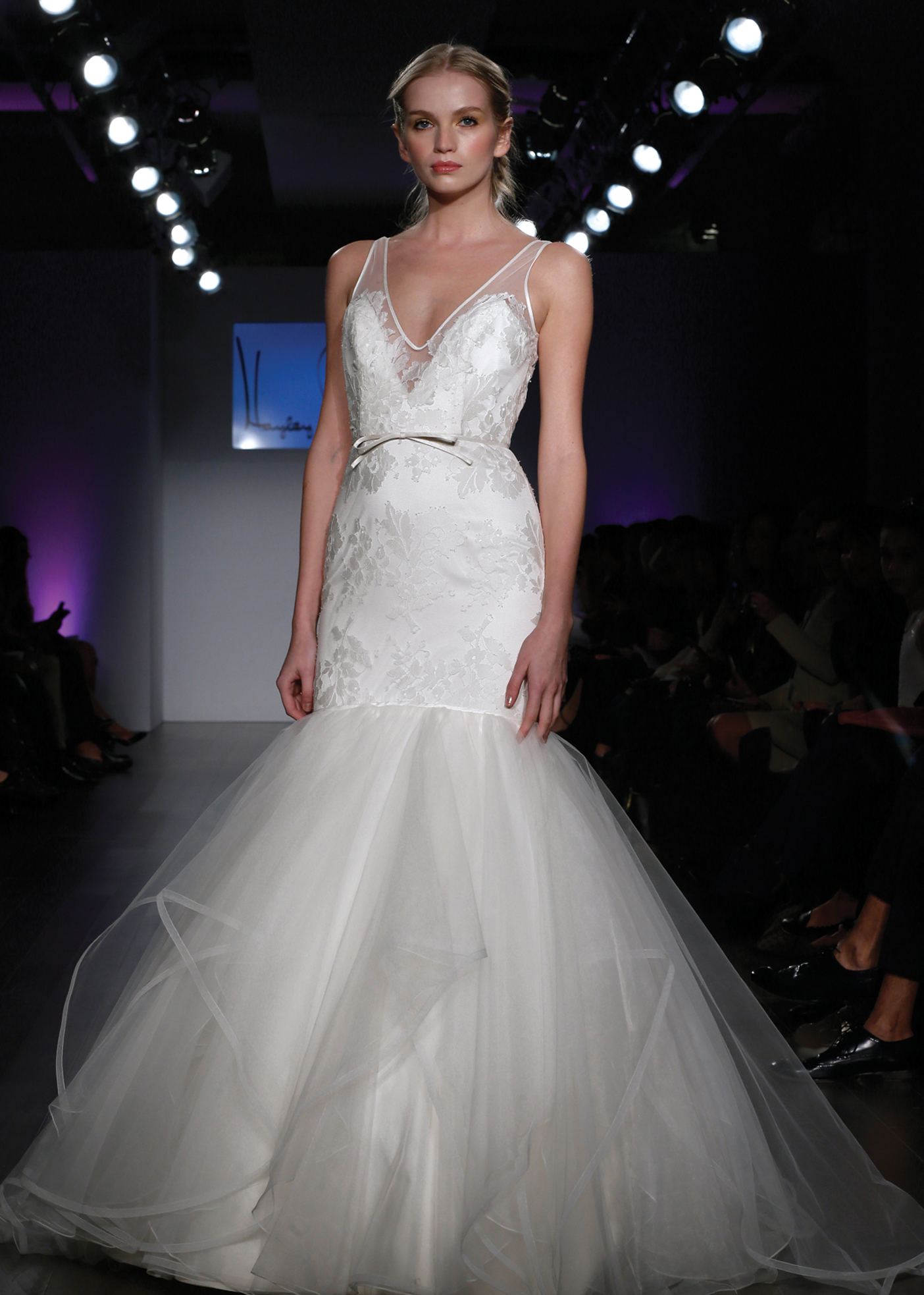 Hayley Paige Glamorous V Neck Trumpet Wedding Gown