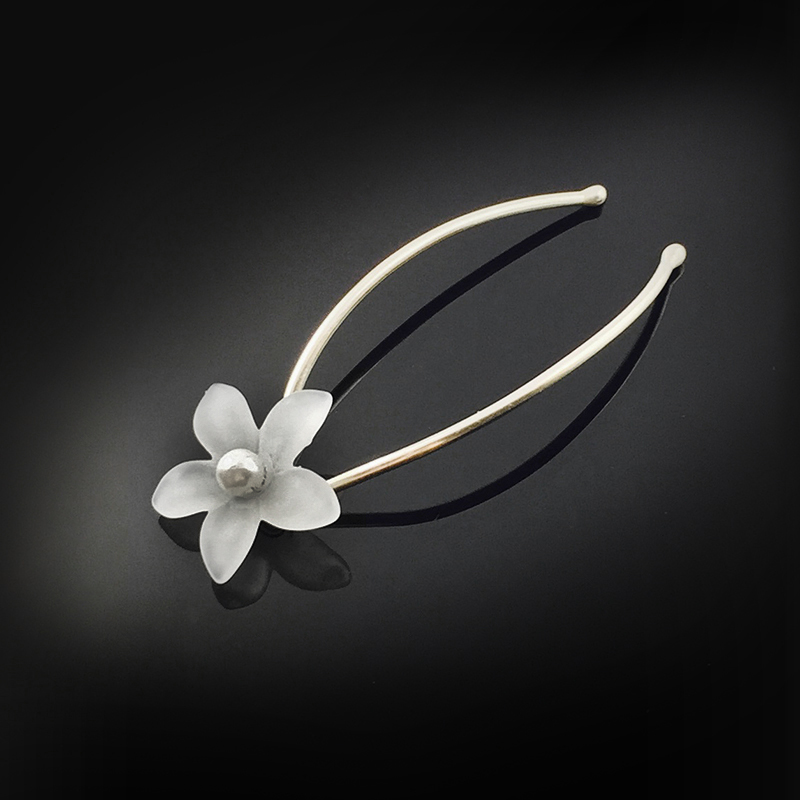 Sterling Hairpins: 4mm AAA Freshwater Pearl and Flower Hairpin Detail