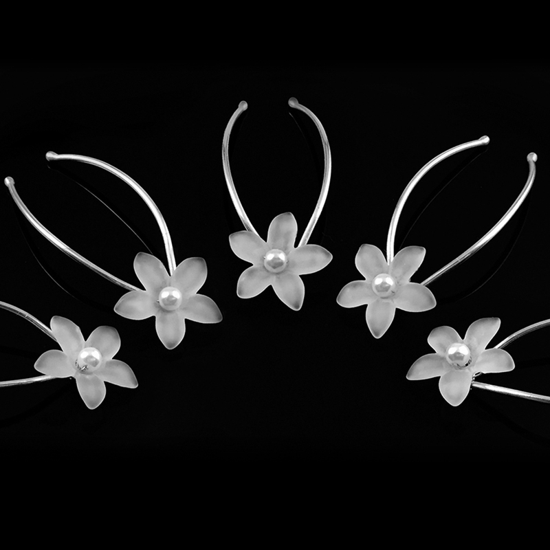 Sterling Hairpins: 4mm AAA Freshwater Pearl and Flower Hairpin Set