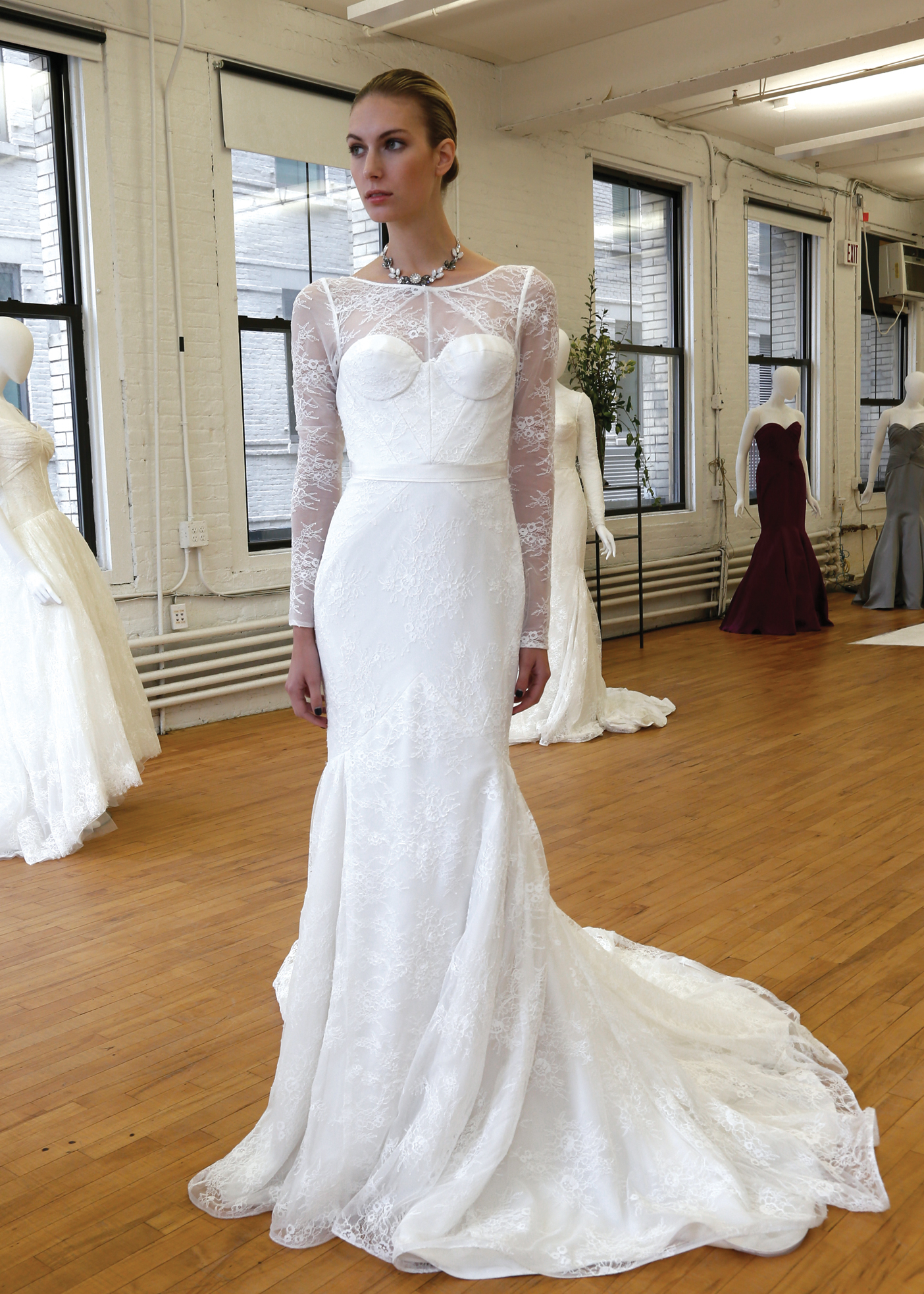 Truly Zac Posen Long Sleeve Short Wedding Dress