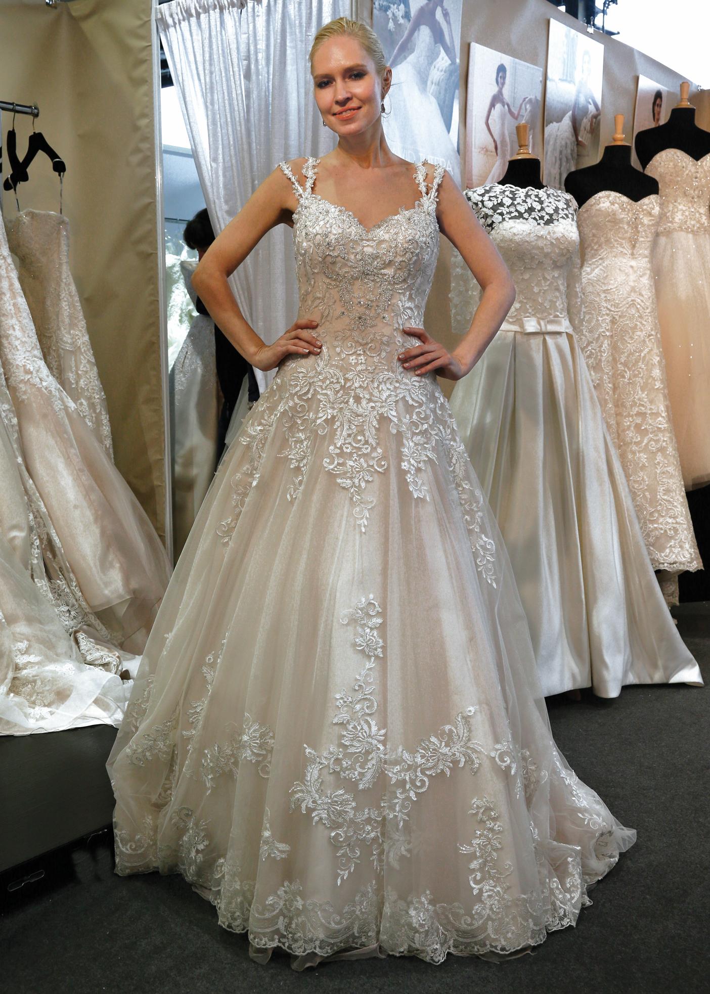 David tutera for mon cheri vintage ballgown wedding dress for Wedding dress alterations cost david s bridal