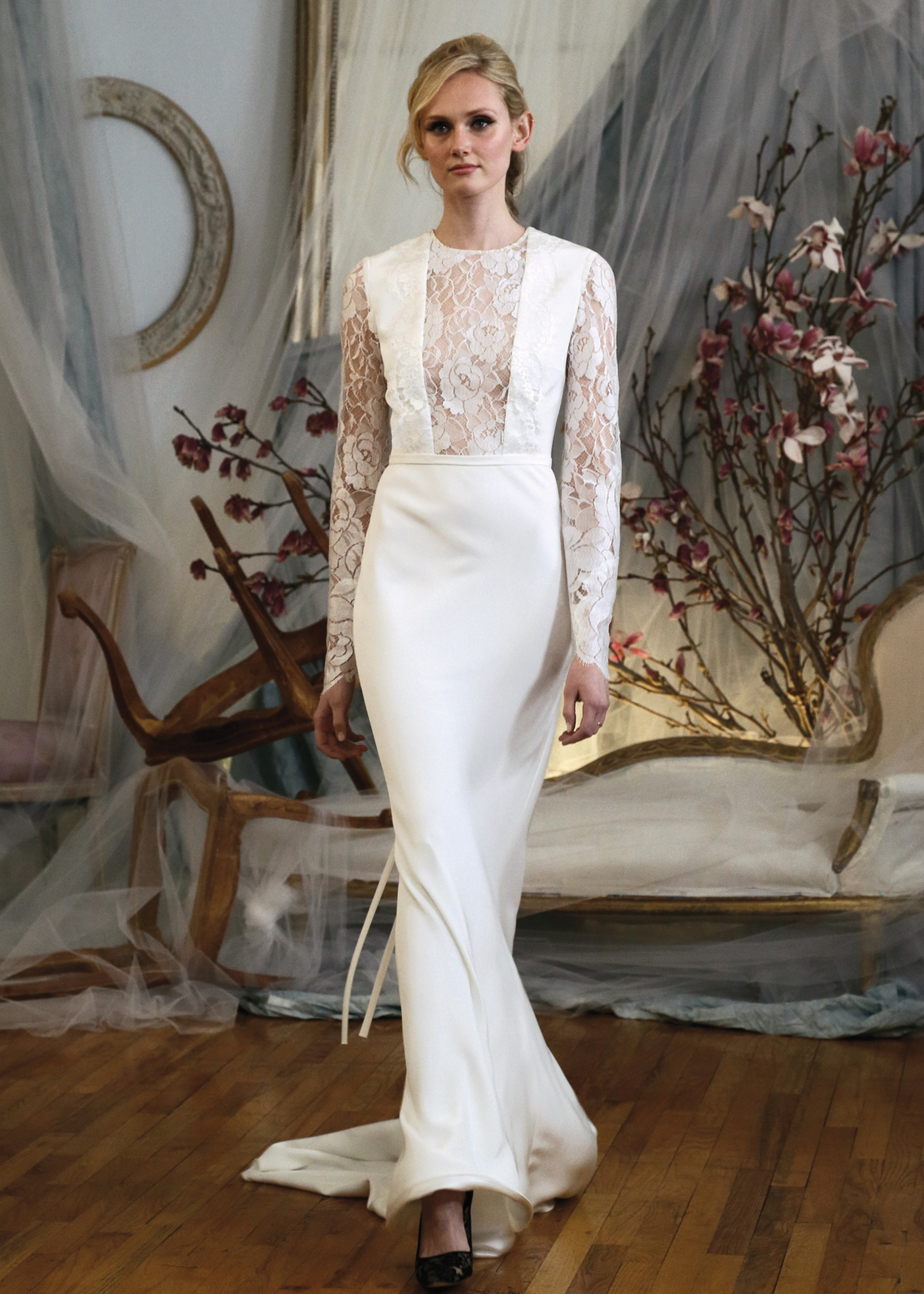d8c023a61ab Elizabeth Fillmore Alluring Long Sleeve Sheath Wedding Gown