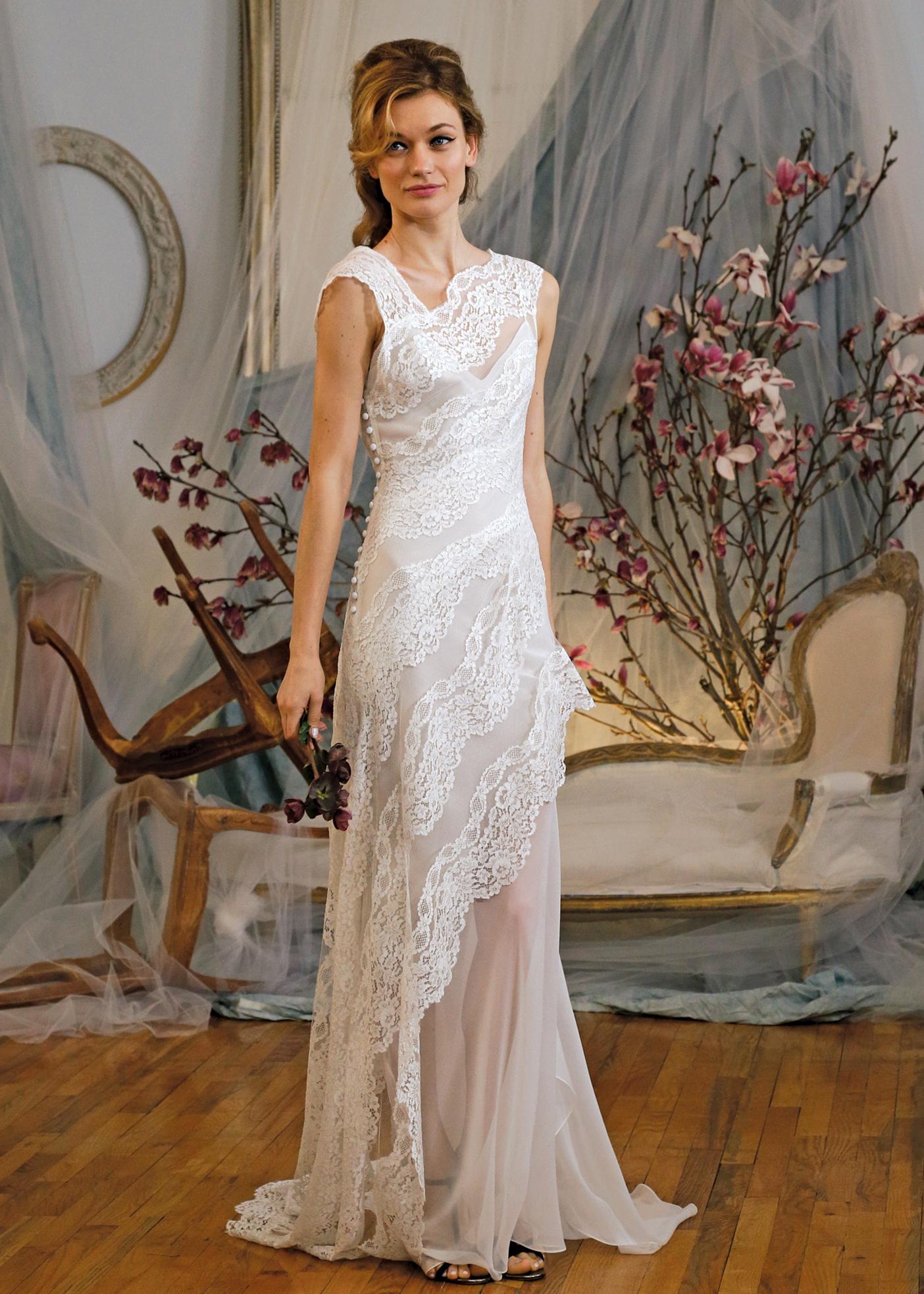 e6effff7 Elizabeth Fillmore Sleeveless Sheath Wedding Gown