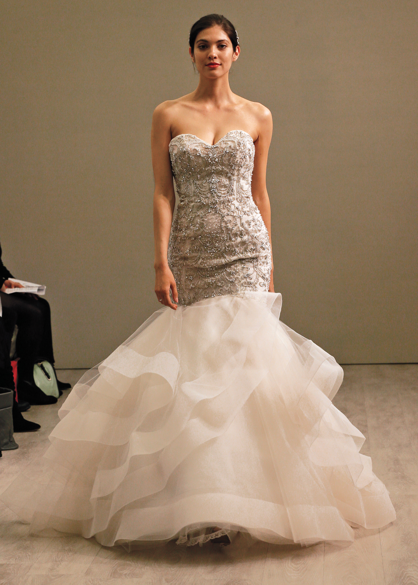 Lazaro Glamorous Strapless Trumpet Wedding Gown