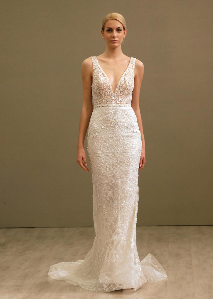 Lazaro alluring v neck sheath wedding gown for Lazaro wedding dress price range