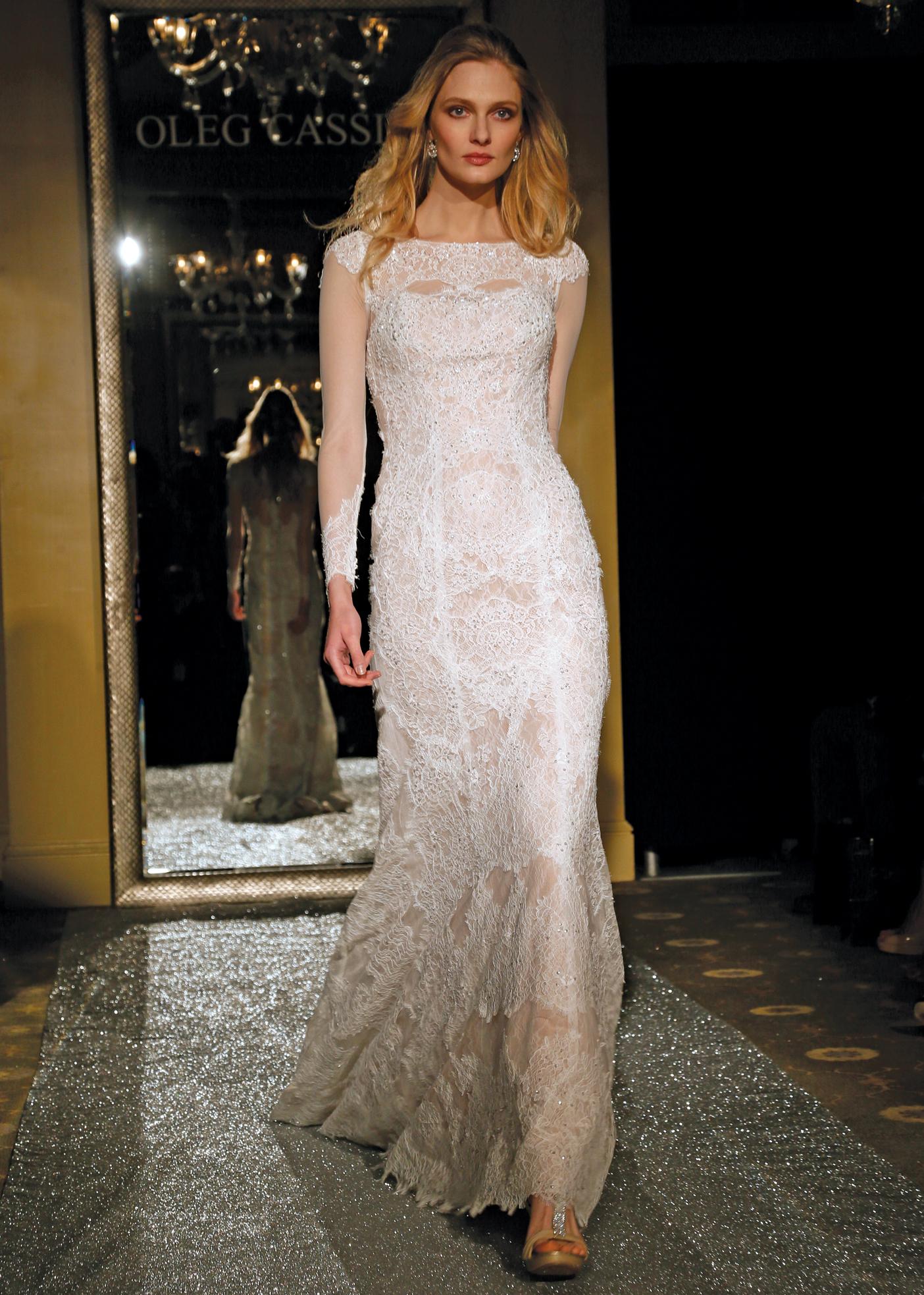 Oleg Cassini Champagne Lace Wedding Dress