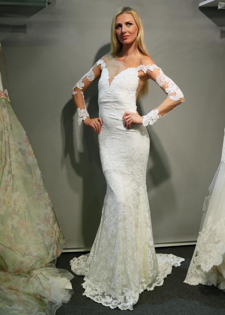 olvis alluring vneck long sleeve trumpet wedding gown