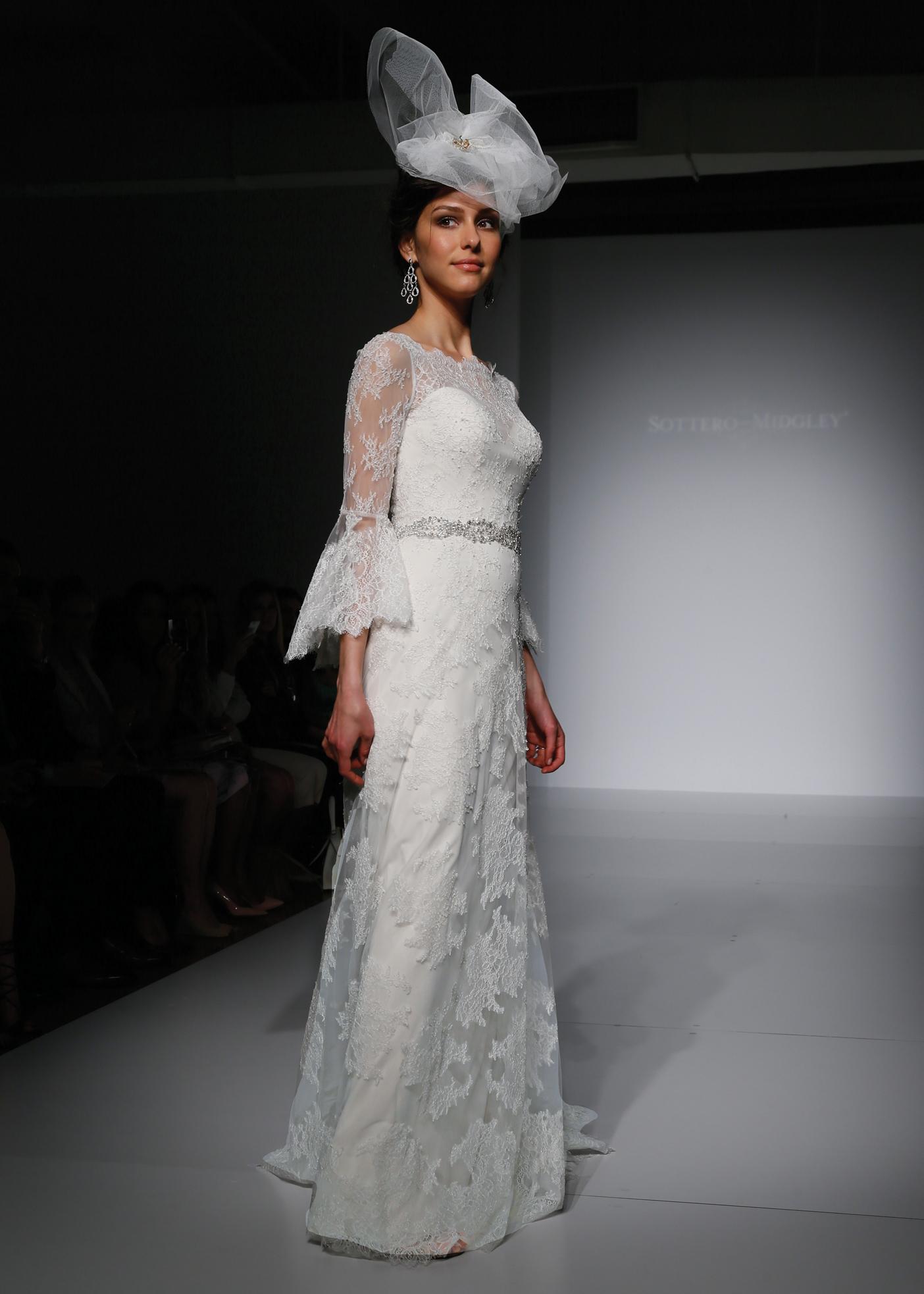 Sottero And Midgley Vintage 3 4 Sleeve Sheath Wedding Gown