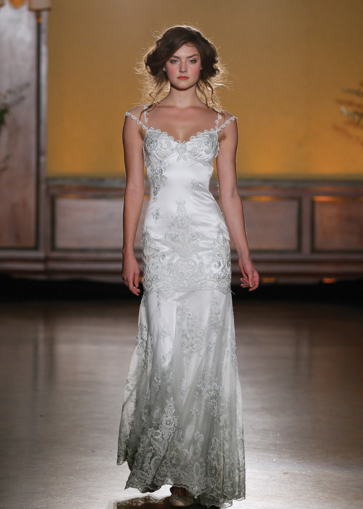 Claire pettibone off the shoulder sheath wedding gown for Wedding dress preservation nyc
