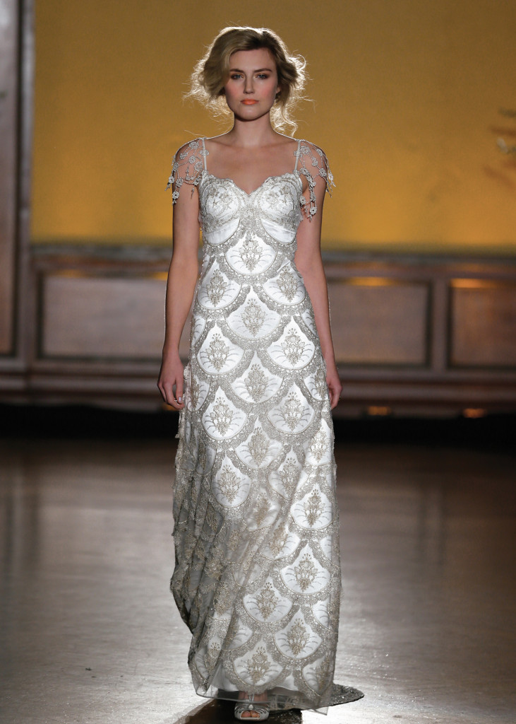 Claire Pettibone Vintage Short Sleeve Sheath Wedding Gown