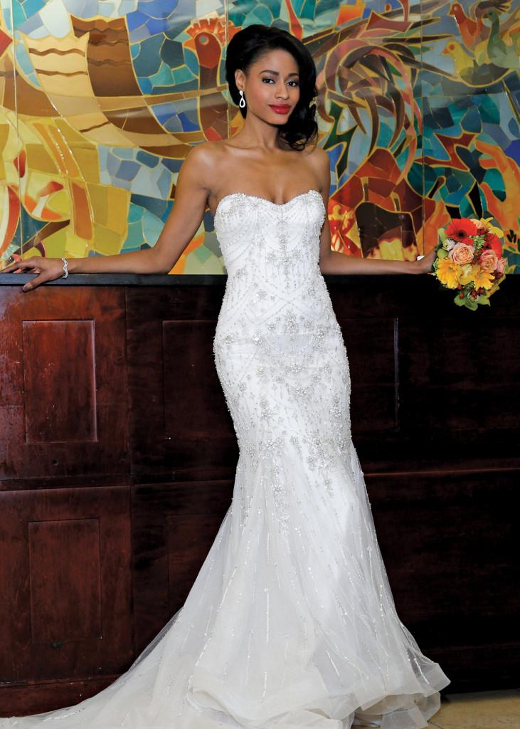 Eve of Milady Glamorous Strapless Mermaid Wedding Gown
