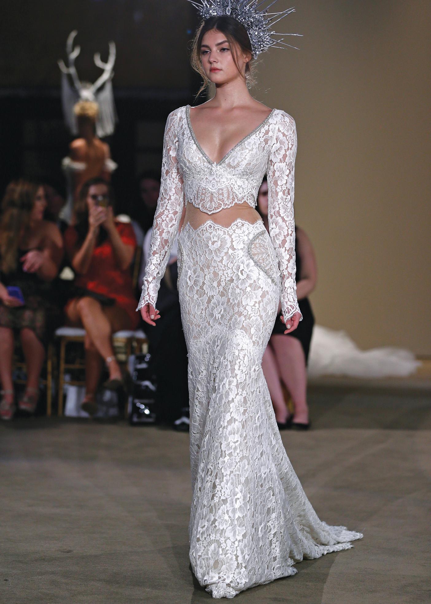 Galia Lahav Avant-Garde Mermaid Long Sleeve Wedding Gown