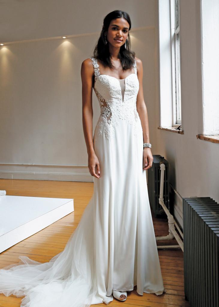 Galina signature spaghetti strap fit to flare wedding gown for Galina signature wedding dresses